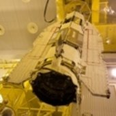 GOCE being lowered to Upper Stage