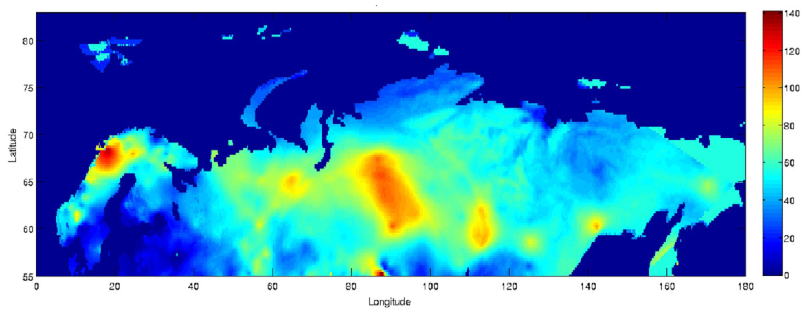 Esa Snow Depth Map Of Eurasia