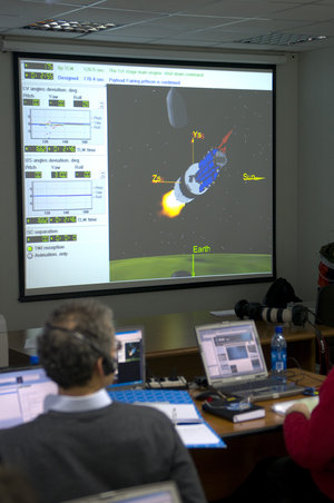 View from ESA support room at Plesetsk during final rehearsal, 13 March 2009