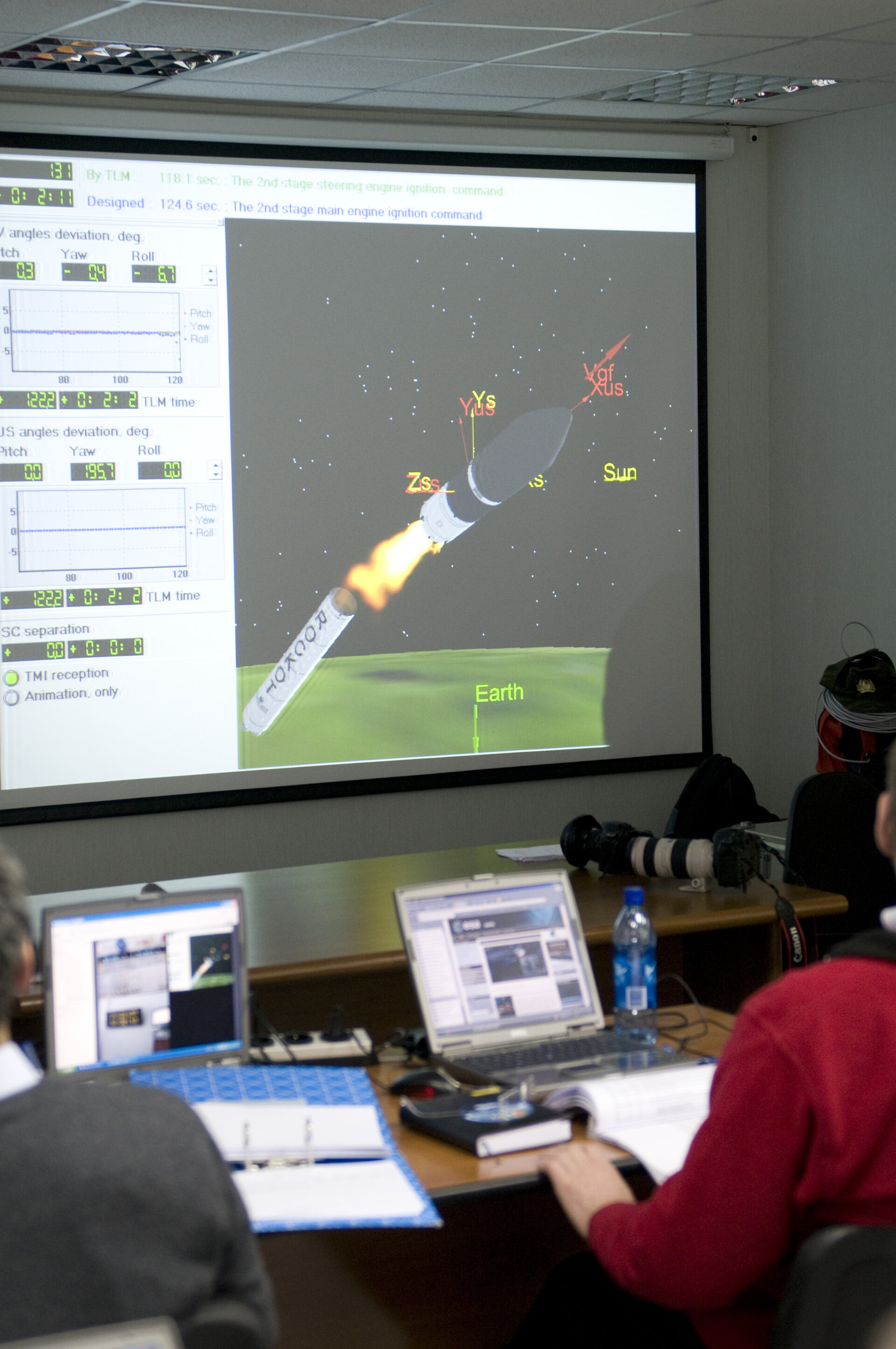 View inside ESA support room at Plesetsk during final rehersal, 13 March 2009