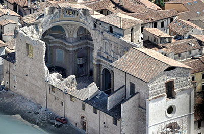 A damaged church in L'Aquila