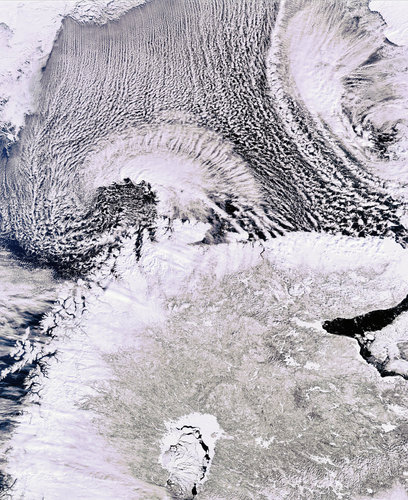 Cloud streets over Scandinavia