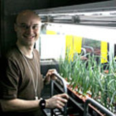 Cyrille in greenhouse area of Mars500 facility