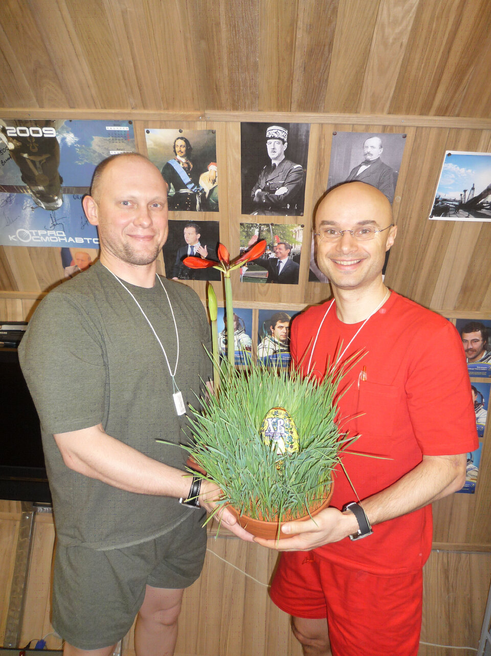 Egg hunting: Cyrille and Oleg find a 'space egg' on orthodox Easter