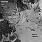 Superimposed Envisat images show margins of the collapsed ice br