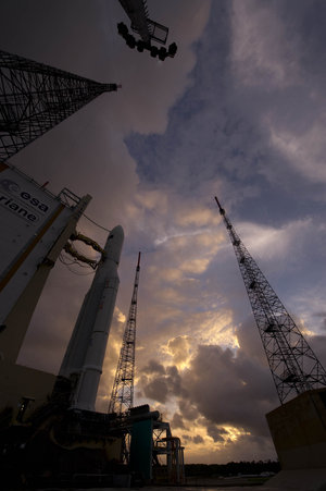Ariane 5 enclosing Herschel and Planck at launch pad