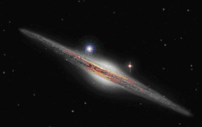 Artist's impression of galaxy and HLX-1 (blue star to the left)