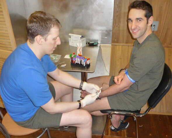 Collecting blood samples from Oliver