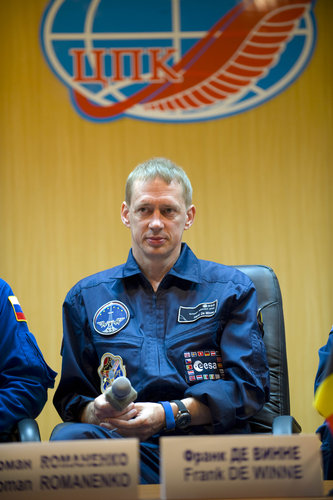 ESA astronaut Frank De Winne during pre-launch press conference