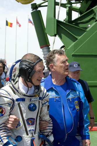 ESA astronaut Frank De Winne prepares to take the elevator to the top of the Soyuz rocket