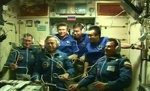 Expedition 20 during welcoming ceremony