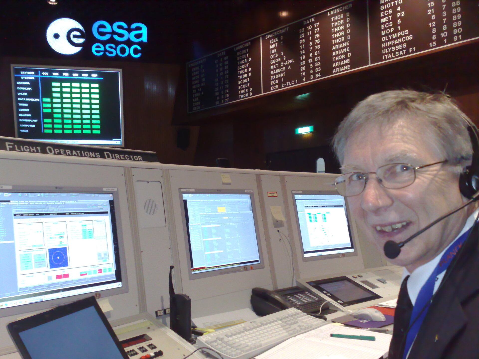 Herschel-Planck Flight Director J. Dodsworth on console