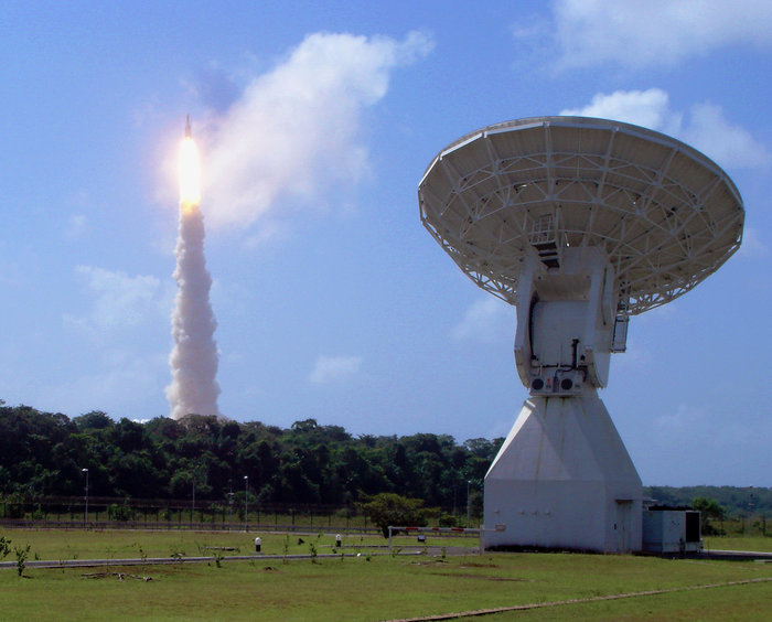 Ariane 5 flight V188 rises above ESA's Estrack station in Kourou, French Guyana