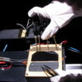 Preparing to test a standard triple junction solar cell