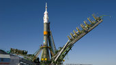 Soyuz launcher is erected on the launch pad