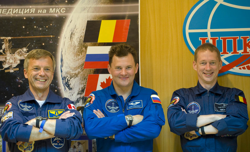 Soyuz TMA-15 crew at the pre-launch press conference