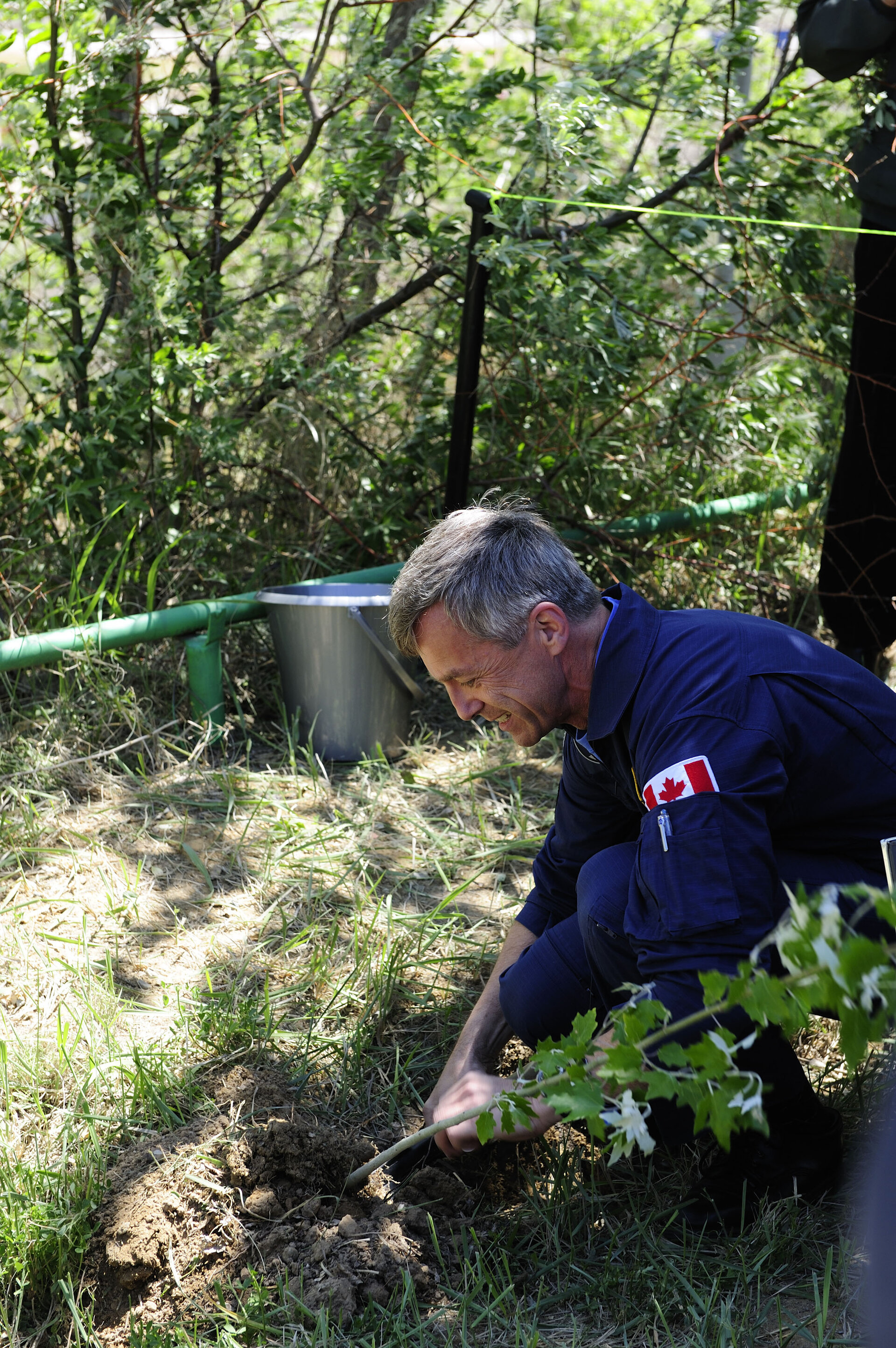 Soyuz TMA-15 crewmember Canadian Space Agency astronaut Robert Thirsk during the tree-planting ceremony
