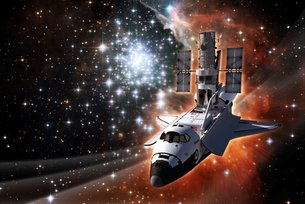 Space Shuttle Atlantis with Hubble