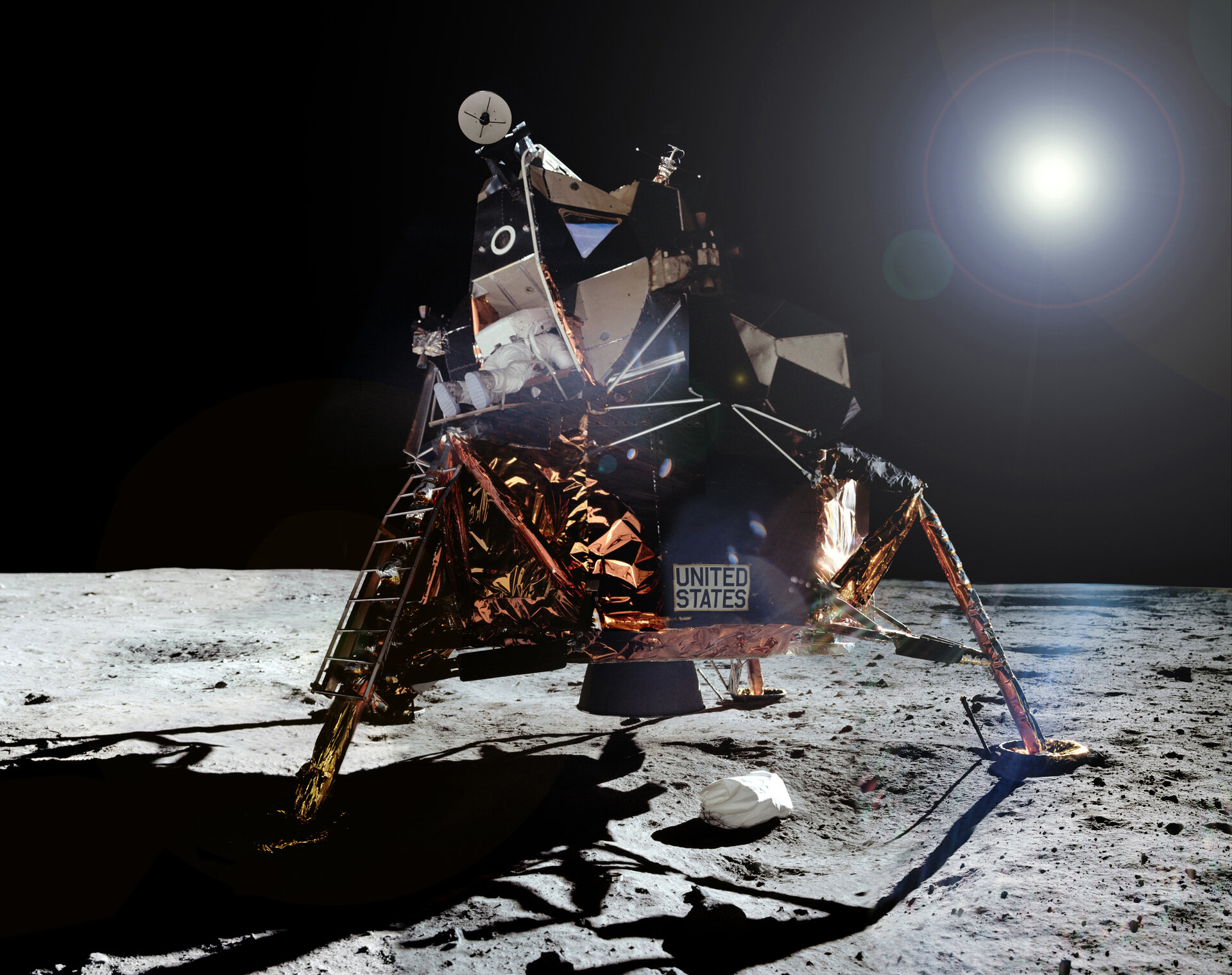 Aldrin leaves Apollo 11 LM 'Eagle'