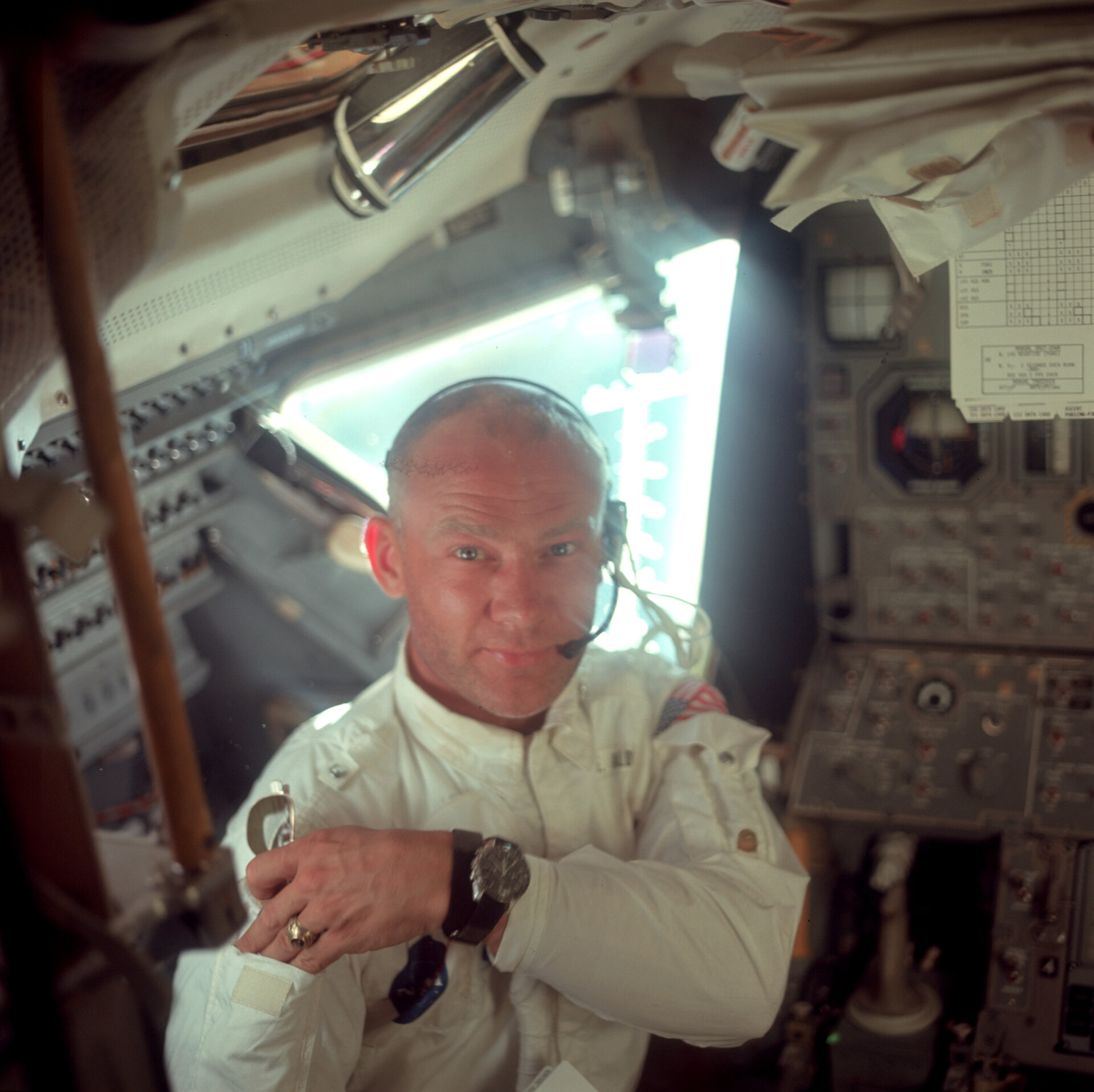 Aldrin working in the Lunar Module