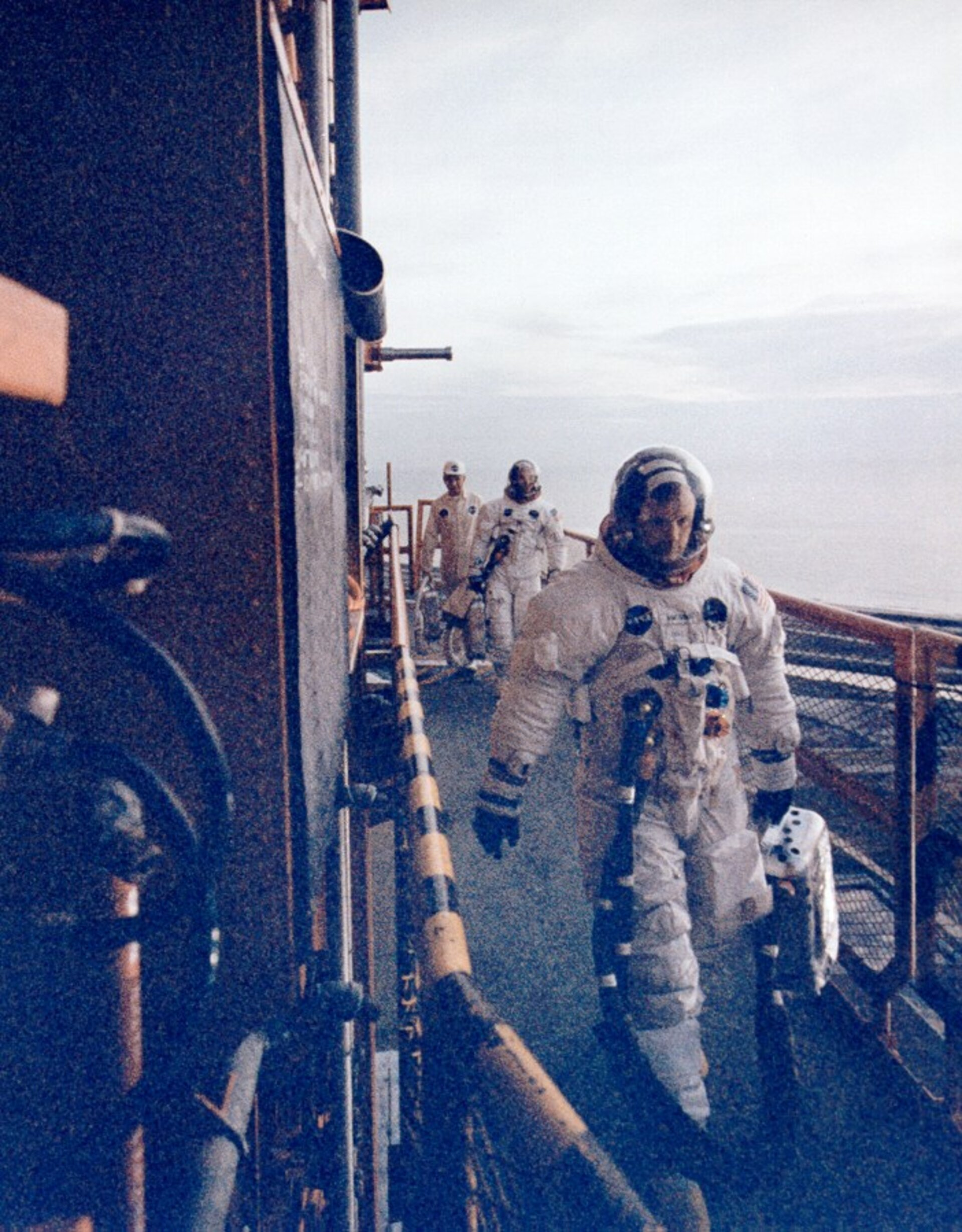 Apollo 11 crew about to enter spacecraft