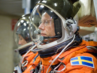 ESA astronaut Christer Fuglesang during STS-128 preflight training