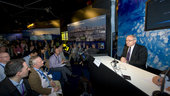 Mr Dordain during the press conference at the ESA Pavilion at Le