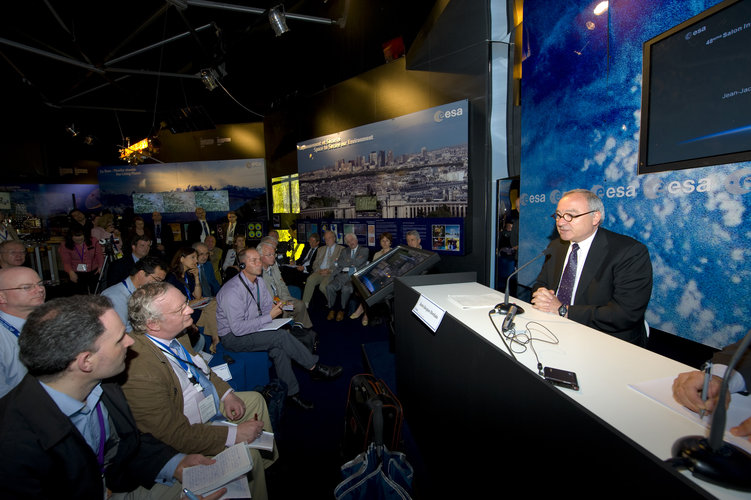 ESA's Director General Jean-Jacques Dordain during the press conference at the ESA Pavilion at