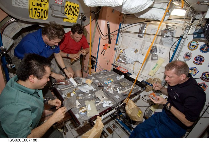 Expedition 20 crewmembers share a meal in the Unity module