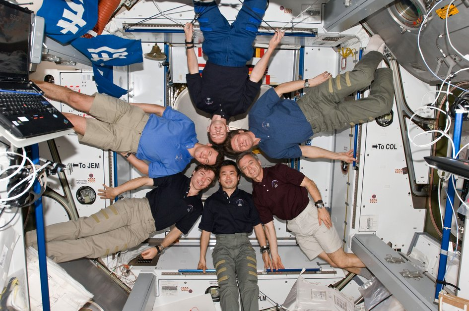 Expedition 20 inflight portrait inside the Harmony module