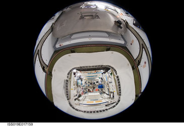 Fisheye view from Harmony into the European Columbus laboratory