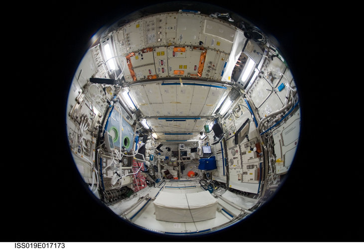 Fisheye view inside the European Columbus laboratory
