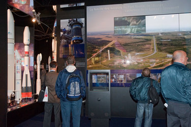 Interior view of the ESA Pavilion, launchers from Europe's spaceport