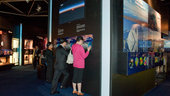 Interior view of the ESA Pavilion, space images in 3D