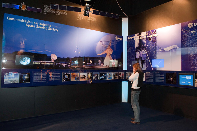 Interior view of the ESA Pavilion, telecommunication and navigation