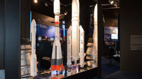Interior view of the ESA Pavilion, Vega, Soyuz and Ariane 5