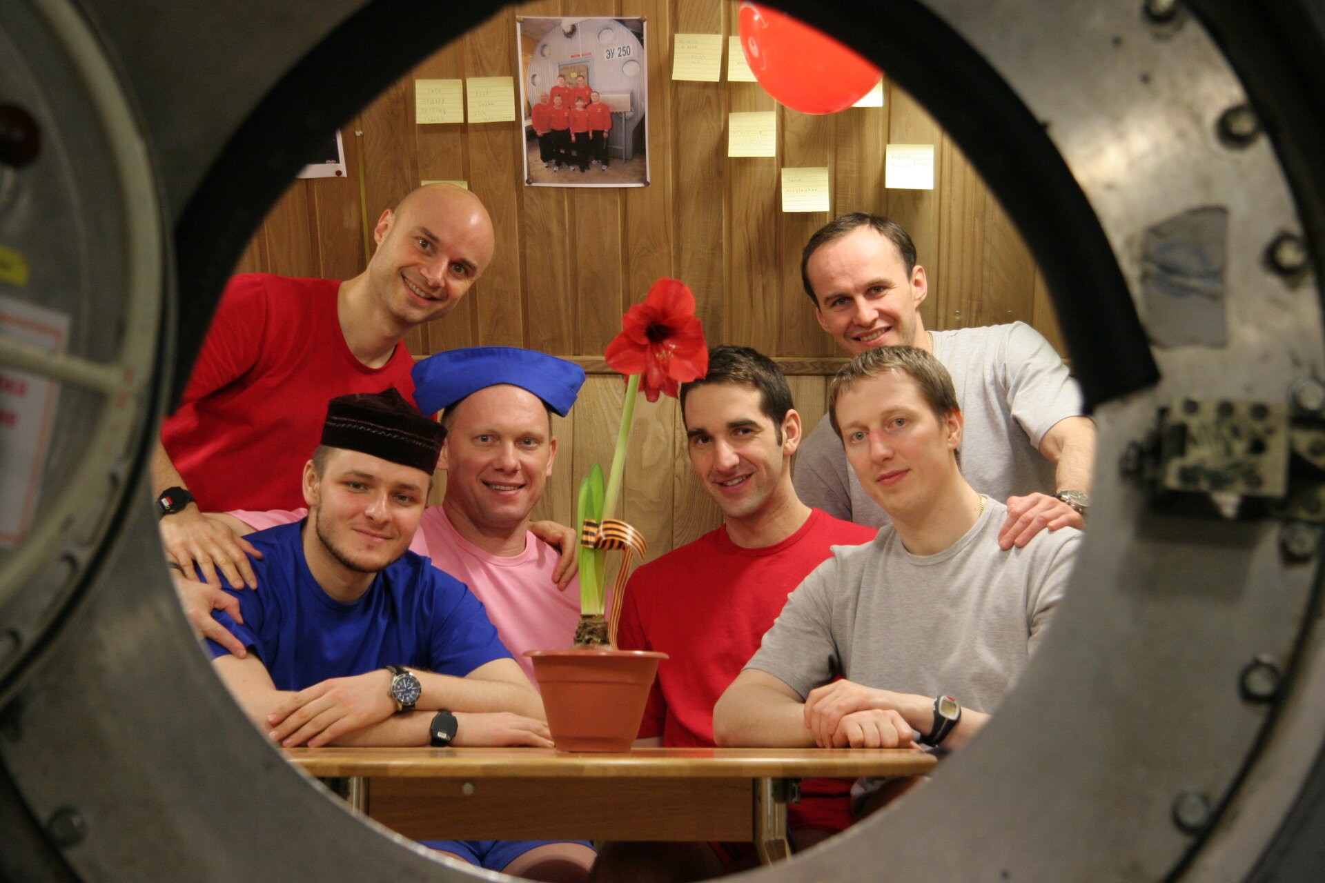 Mars500 crew inside the habitat during the 105-day study