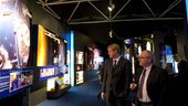 Mr Dordain and Mr Hulsroj visiting the ESA Pavilion
