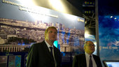 Mr Dordain and Mr Hulsroj visit the ESA Pavilion