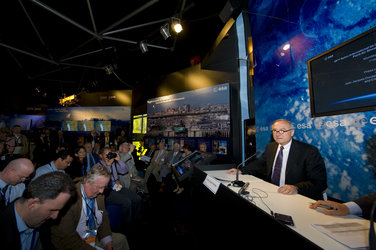 Mr Dordain during the press conference at the ESA Pavilion at Le Bourget