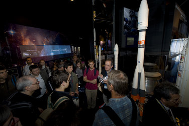 Public visiting the ESA Pavilion with Mr Philippe Poinas