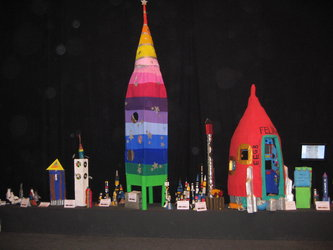 Rockets made by primary level schoolchildren