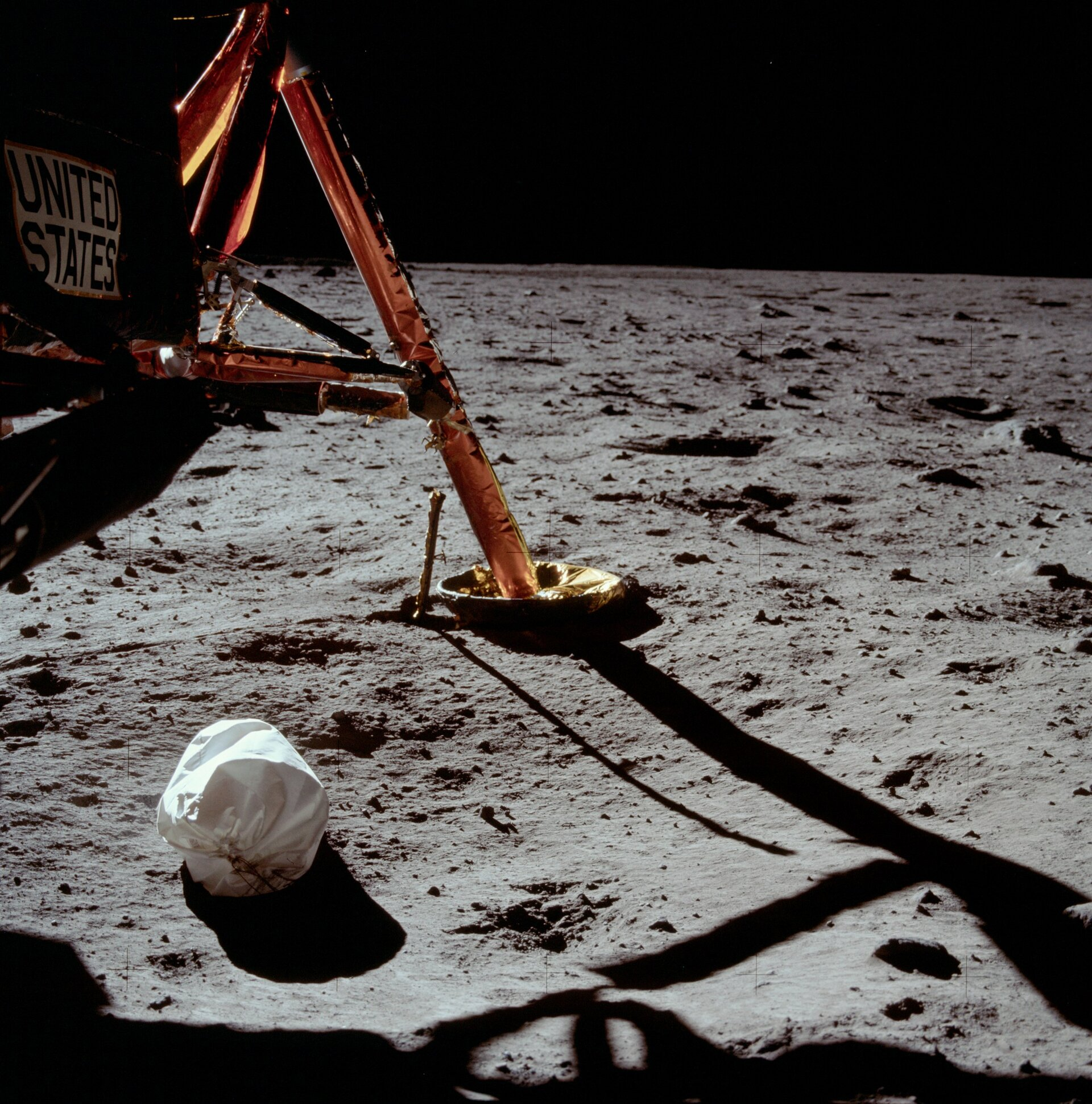 The first photograph taken on the Moon