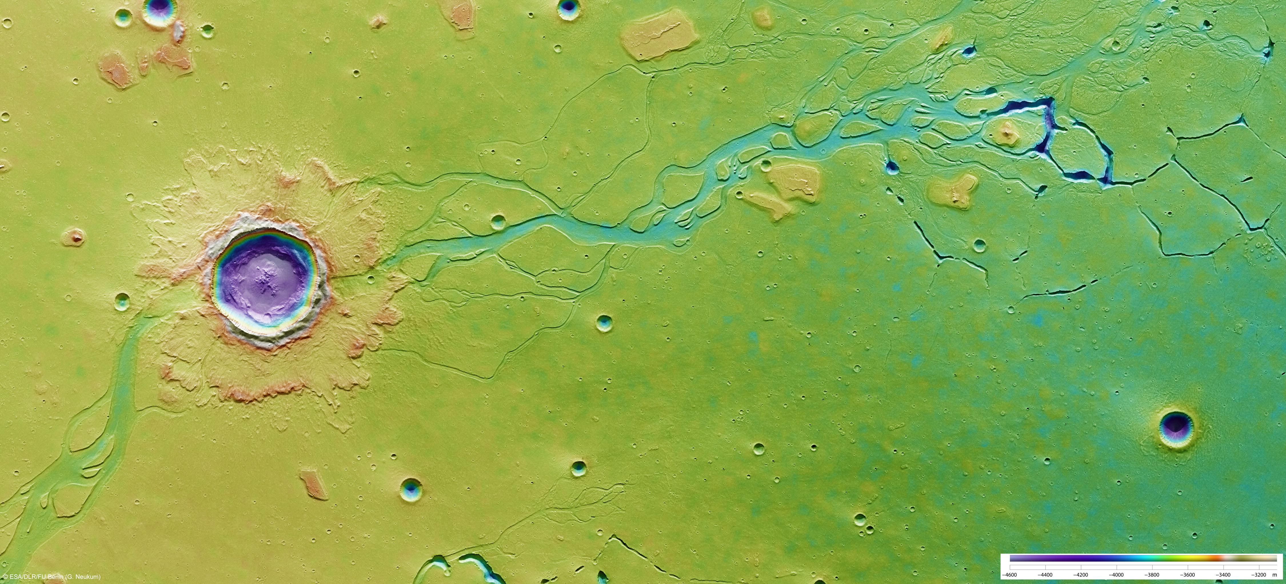 Impacto en Hebrus Vallis. Fuente: ESA/DLR/FU Berlin (G. Neukum)