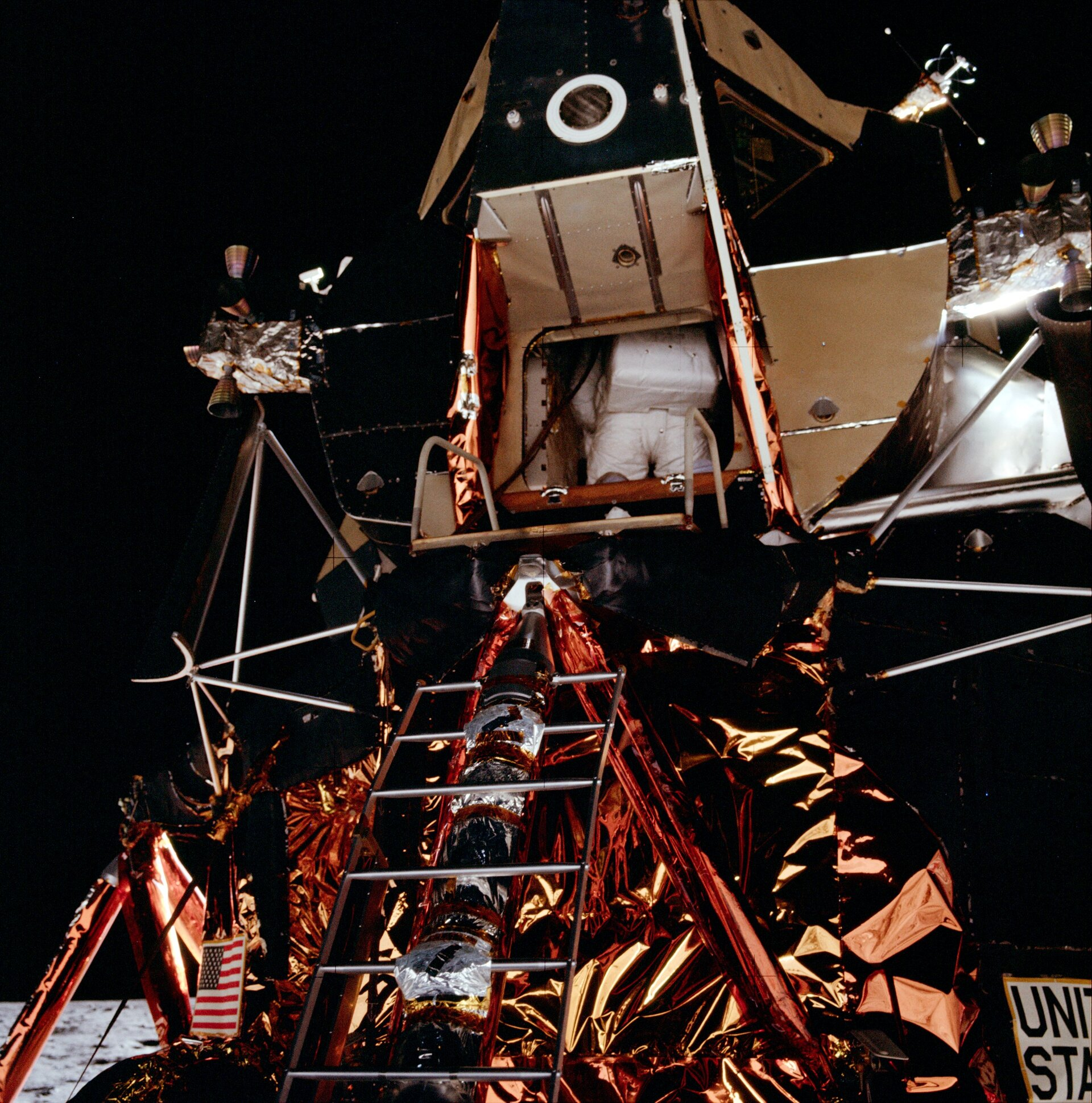 Aldrin backs out of the Lunar Module