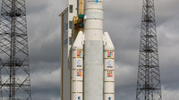Ariane 5 ECA V189 launcher is readied for lift-off