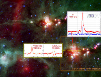 Ionised carbon, carbon monoxide, and water in star-forming region