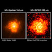 M74 at two different wavelengths