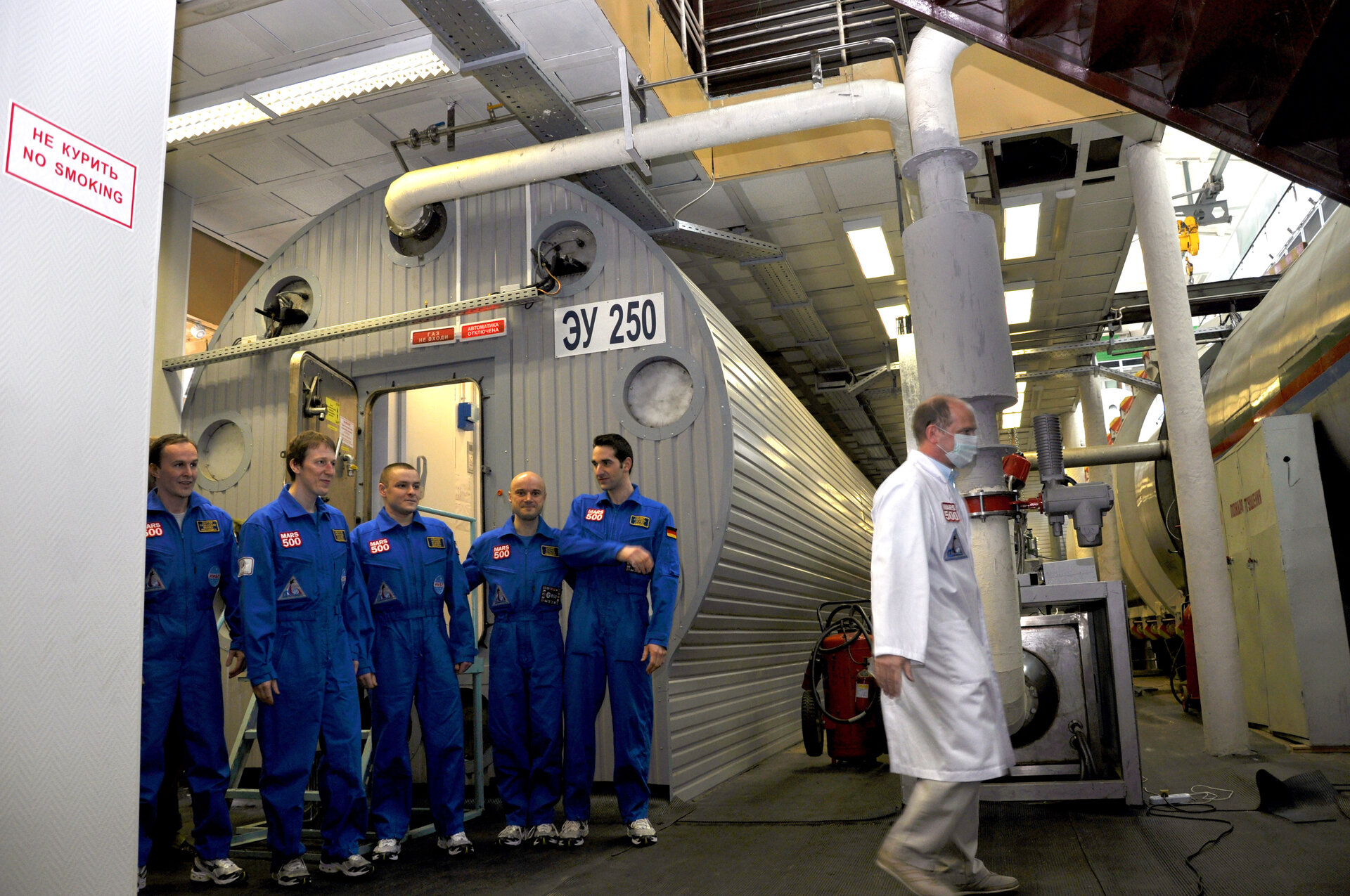 The Mars500 crew shortly after completing their 105-day Mars mission simulation