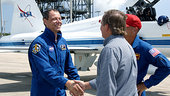 Christer Fuglesang arrives at KSC for TDCT